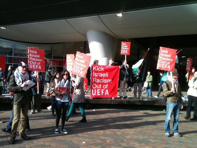 Demonstratie tegen EK in Israël